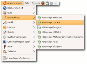 "<em>KDevelop im Menü (hier GNOME).</em>"" title=""kdevelop-menu"" width=""300″ height=""224″ class=""size-medium wp-image-1835″ /><p id="
